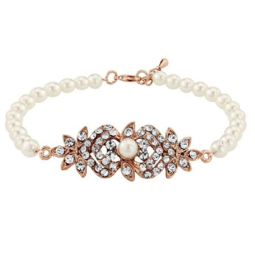 Vintage inspired crystal pearl bracelet in rose gold or silver finish
